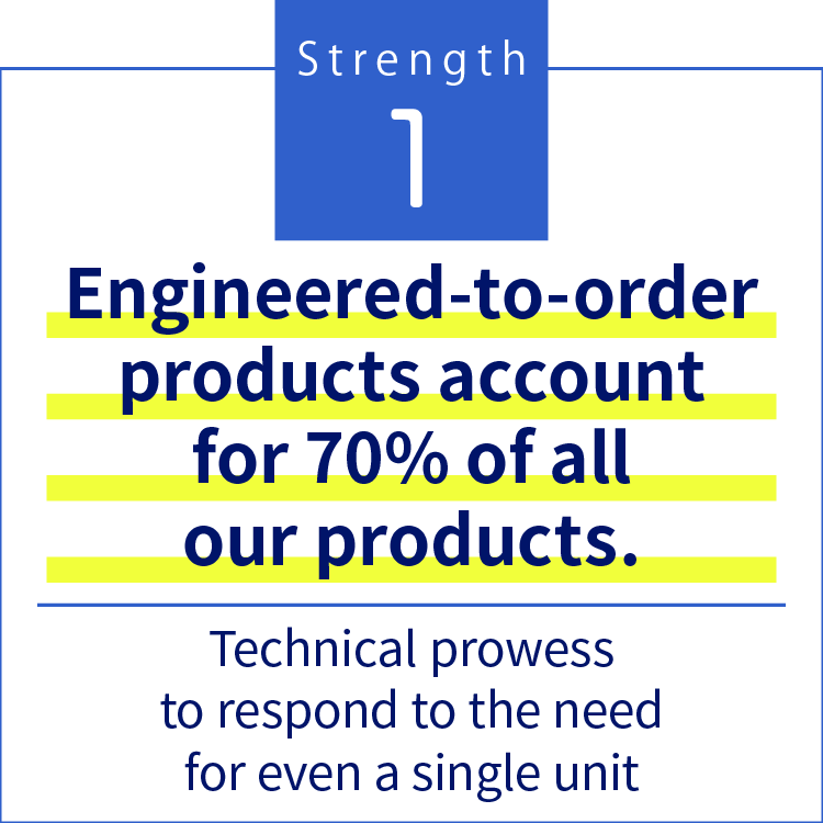 Strength1 Engineered-to-order products account for 70% of all our products.Technical prowess to respond to the need for even a single unit